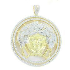 Mens 14k Yellow Gold Over .925 Silver Medusa Versace Diamond Pendant Iced