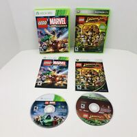LEGO Marvel Super Heroes And Indiana Jones Microsoft Xbox 360 Complete Lot Of 2