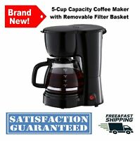5-Cup Medium Capacity Black Coffee Maker Brewer with Removable Filter Basket
