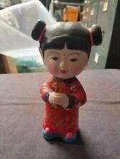 Vintage China Doll Geisha Girl w/ Red Kimono Bobblehead Doll