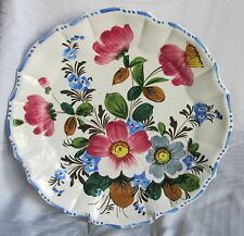 Old Hand Painted Italian Floral Pottery Serving Tray Platter Round Chop Plate
