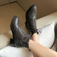 Womens New Fashion Leather Lace Up Zippers Brogue Combat Martin Boots Shoes SKGB
