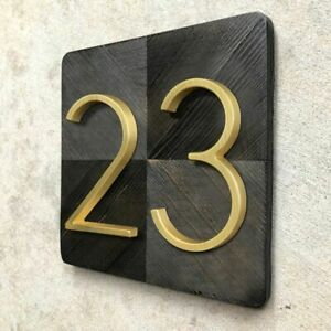 Golden Floating Modern House Number Satin Brass Door Home Address Digits 125mm