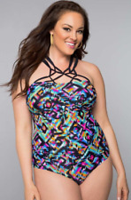 Swimsuits for All Sexy Aztec Plus Size Womens Bathing Suit One piece Neon Sz 20