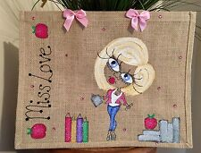 Large Personalised Teacher Jute Bag Gift  43cm x 32cm