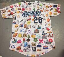 West Michigan Whitecaps Game Used Emoji #28 Jersey Size 48 MILB Theme Icons