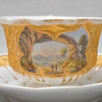 Meissen Neugotische Biedermeier Prunktasse mit Lupenmalerei Landschaft viel Gold