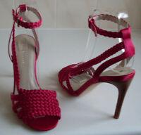 KAREN MILLEN Designer Pink Woven Pumps Heels Sandals Size EU 37 UK 4 US 6