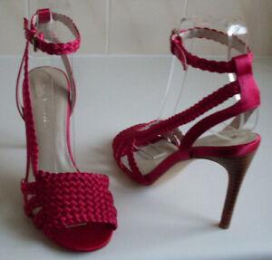 KAREN MILLEN London Designer Pink Ankle Strap High Heels Sandal Size EU 37 UK 4