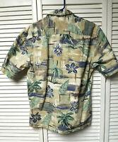 Hawaiian Tropical Camp Shirt CAMPIA MODA Sailboat Palm Tree MEDIUM Party Casual