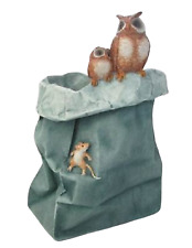 More details for polyresin comical flower vase with owls figurine hand made and painted ornament