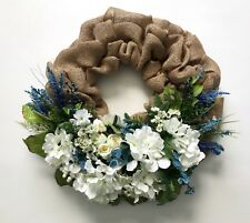 Burlap Spring Summer Wreath Door Floral Tropical Silk Flowers Handmade 18""