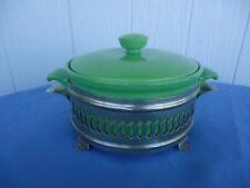 vintage art deco green casserole dish with silver stand  servex bohemia