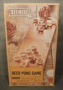 New Refinery And Co Wooden Beer Pong Game Foldable Tabletop Size Game W/25 Cups