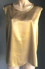 Stylish NONI B Gold Satin Look Cami Tank Top Size 16 - Great Condition