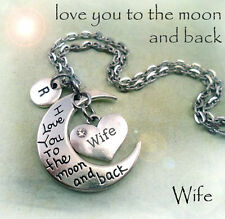 Wife I Love You to the Moon and Back Necklace w-Letter Charm * Special Wife Gift