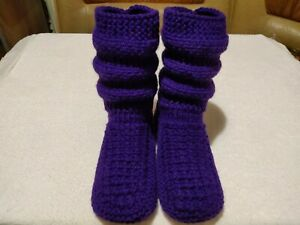 Hand Knitted Womens Boots Slippers Warm Socks Indoor Shoes Violet Color