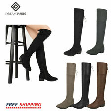 DREAM PAIRS Women Suede/PU Over The Knee Thigh High Low Heel Classic Slouch Boot