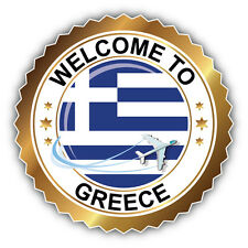 Greece Flag Welcome Label Car Bumper Sticker Decal 5'' x 5''