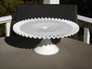 "Fenton Hobnail Milk Glass Ruffled Cake Stand Plate Pedestal EXC 12 3/4""W"