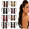 Real New Clip In Human Hair Extension Curly Pony Tail Wrap Around Ponytail