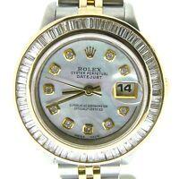 Rolex Datejust Lady 18K Yellow Gold & Steel Watch 1.75ct Diamond Bezel White MOP