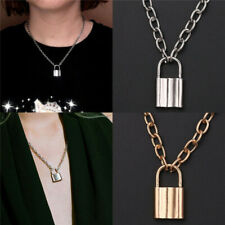 Lock Pendant Necklace Padlock Charms Long Chain Unisex Punk Hiphop Jewelry Gift