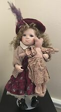 "Vintage Linda Steele Porcelain doll 1993 16"" 19.5"" with hat and stand"
