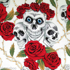 "Skulls & roses WHITE & RED goth  fabric  100% cotton   54"" wide * sold per metre"