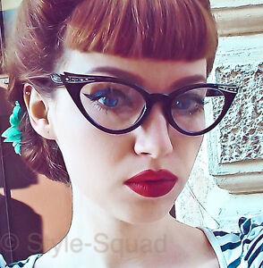 Retro Cat Eye Pin Up Crystals & Gold Rockabilly Fashion Eye Glasses Frames 1317