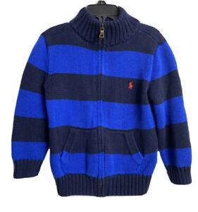 POLO RALPH LAUREN BOYS FULL ZIP KNIT BLUE STRIPED CARDIGAN SWEATER Size 4/4T