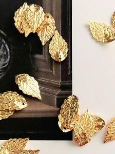 Brass Filigree Pendants, Leaf Charms, Golden, 18x10x1mm, Hole: 1.2mm 10PCS