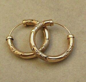 LOVELY VINTAGE 9ct GOLD 2cm HOOP EARRINGS