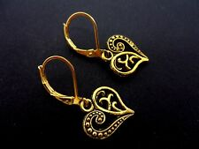 A PAIR OF DANGLY GOLD COLOUR   HEART LEVERBACK HOOK  EARRINGS.  NEW.