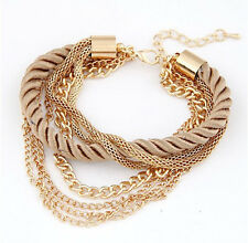 New Fashion Women Silver Gold Crystal Bangle Charm Cuff Bracelet Jewelry Gift
