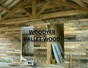 2m² Rustic Reclaimed Pallet Wood Wall Cladding Timber Planks Boards Recycled DIY