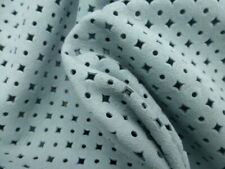 goatskin goat leather Suede hide skin Seafoam Blue Perforated Geometric Pattern