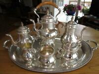 RARE GORHAM STERLING-SILVER 7P TEA COFFEE KETTLE TRAY SET*FIGURAL*293 T.O.*