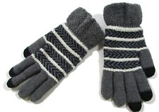 Women M-L Winter Knitted Full Finger Touch Screen Gloves ~ Gray with White Blue