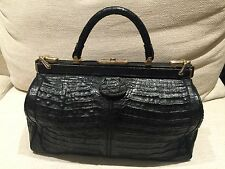 Vintage Goldpfeil Black Crocodile Doctor Bag with Beautiful Patina