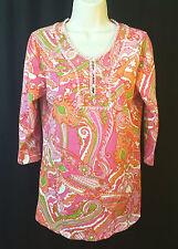Soft Surroundings Embellished Tunic Pink Orange Green Petite Medium
