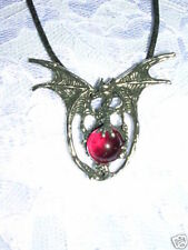 LARGE SPINY WING DRAGON w BLOOD RED GLASS ORB BALL PEWTER PENDANT ADJ NECKLACE