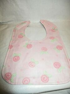 Handmade Large Baby Bib with Hook and Loop Closure. Washable Pretty and Pink