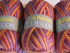 x3 Skeins Patons Decor  3.5oz ea  DIVINE  Acrylic/Wool Blend