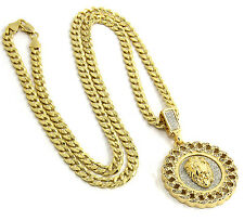 "Mens Gold Plated Cuban Style Hip-Hop Lion Face Pendant 24"" Chain Necklace D331"