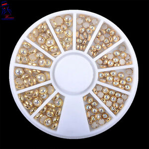 New Manicure Gold Color Women Nail Art Decoration Wheel Crystal Tips Glitter Box