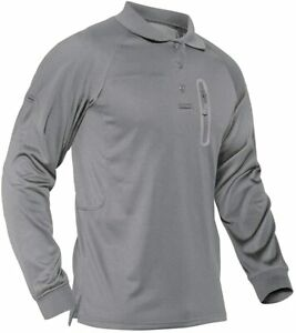 Men's Tactical Army Shirt Long Sleeve Quick Drying Polo Shirt Outdoor Work Tops