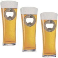 3x Metall-Flaschenöffner Kapselheber Flaschen-Öffner Bierglas Holzgriff & Magnet
