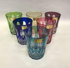 NEW! set 6 Bohemian Tumbler Glasses Cut to Clear 24% Lead Crystal Germany NIB