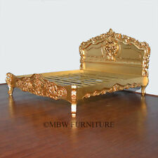 Gold French Style Rococo Carved Ornate E. King Bed  (SO)    B003-EK-AG-F-616-44